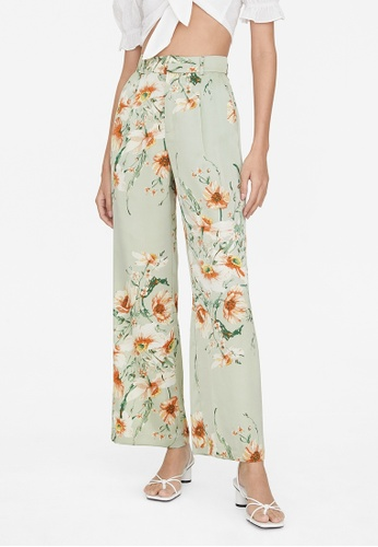 Pomelo green Side Pockets Floral Pants - Green 4D00CAA8812037GS_1
