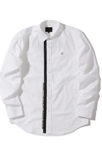 MUSIUM DIV white Logo print dolphin hem shirt C5391AA39D39A9GS_1