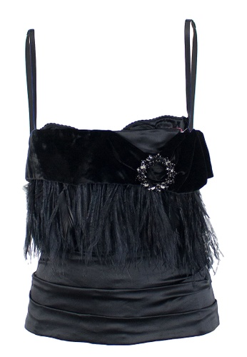 DOLCE & GABBANA black Pre-Loved D&G Black Feathered, Velvet And Silk Satin Corset Top With Internal Bra And Embellished Bodice Buckle F137EAA4DD7235GS_1