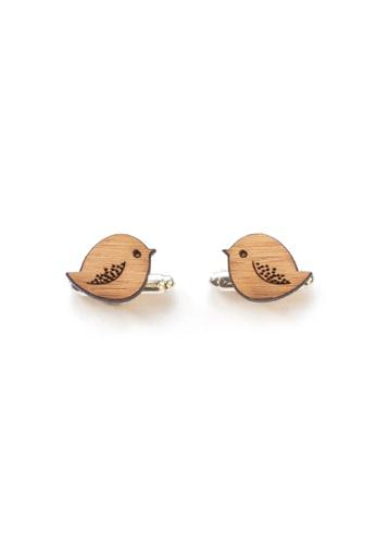 Splice Cufflinks brown Handmade Birdies Cufflinks SP744AC86CURSG_1