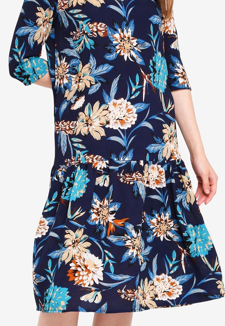 Neck Dress Flower Big JACQUELINE Blue YONG Dress DE High Happy S5qEq