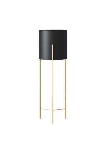 DILAS HOME black Nordic Plant Pot with Gold Stand (Black) - Big 924AEHL90EFFD1GS_1