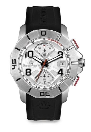 René Mouris multi Infinité Collection - 45mm Mannish Quartz Chronograph Watch for Men's - Black Color Silicone Strap - Made in France 450C1AC2CE76F6GS_1