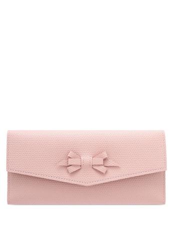 Velvet pink BOW DETAIL LONG WALLET 4F9A7ZZF7D8008GS_1
