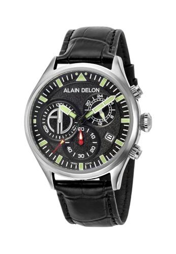 Alain Delon black Alain Delon Men AD418-1332C Black Leather Watch 5BA53AC4D2BA3EGS_1
