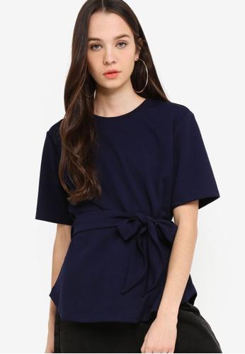 Something Borrowed 海軍藍色 綁帶羅紋T恤 716FAAA6770779GS_1