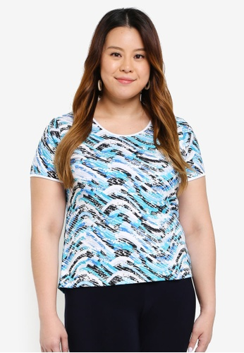 Ex'otico white and blue Plus Size Short Sleeve Round Neck Top AB6BDAA7388705GS_1