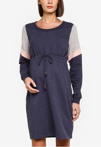 Mama.licious navy Maternity Mena Long Sleeve Sweat Dress 08A74AABC1BA4BGS_1