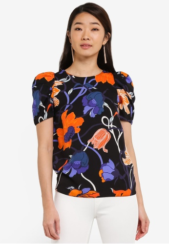 Dorothy Perkins black Abstract Floral Puff Sleeve Top DO816AA0RI7ZMY_1