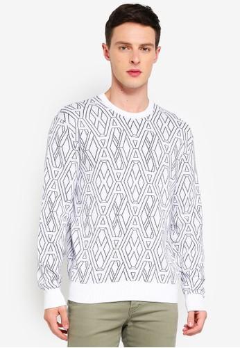 Armani Exchange white Geometric Logo Pullover 278A5AA320319EGS_1