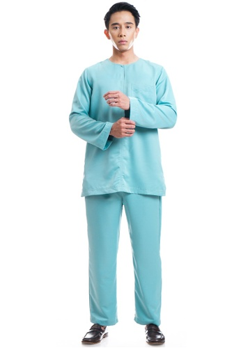 Ashura green and blue Hilal Baju Melayu With Belanga Collar 41B0BAA01B7412GS_1
