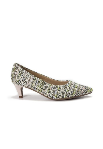 Shu Talk green Lecca Lecca Tweed Fabric Pointed Toe Leather Heels 6636FSH7C23A7CGS_1