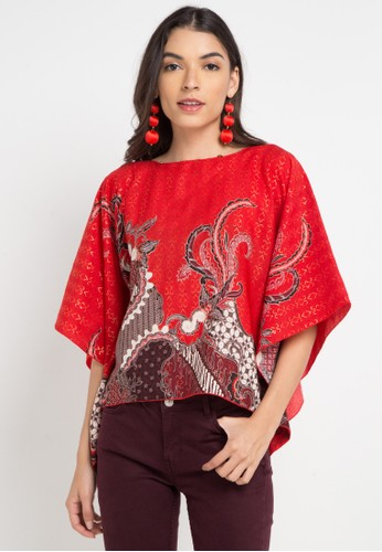 LUIRE by Raden Sirait red and multi Ponco Kotak 37B6FAA9B5A358GS_1