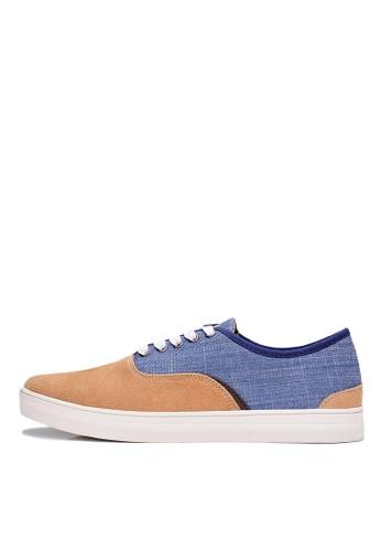 英倫雅緻。細絨牛皮。繽紛格紋休閒鞋-04esprit 鞋408-褐藍, 鞋, 休閒鞋