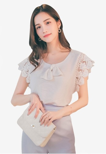 Yoco white Bow and Lace Sleeves Top C5794AAE81387CGS_1