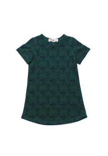 Mini Moley green Tribal Print Girl's Shift Dress 6CE51KA35D2426GS_1