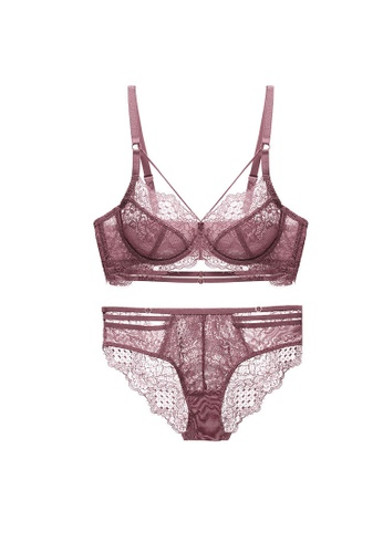 ZITIQUE red Lace Lingerie Set (Bra And Underwear) - Red 6FCE6US168D902GS_1