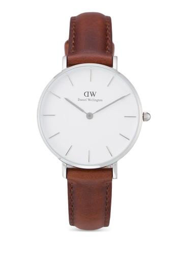 Daniel Wellington brown and silver Classic Petite St Mawes Watch DA376AC44PMHMY_1