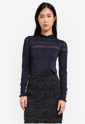 WAREHOUSE navy Sparkle Pointelle Jumper WA653AA0SBZUMY_1