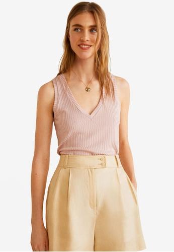 Mango pink Ribbed Knit Top 54C49AAB83EE7CGS_1