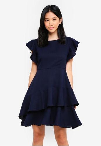 ZALORA navy Fit & Flare Dress with Double Layer Hem AADFBAA87DCC49GS_1