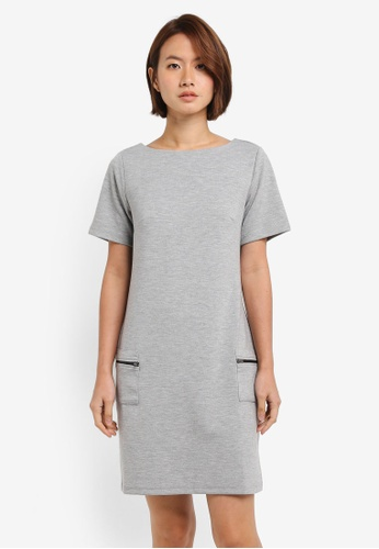 Dorothy Perkins grey Light Grey Zip Pocket Shift Dress 0BE56AA952CD7BGS_1