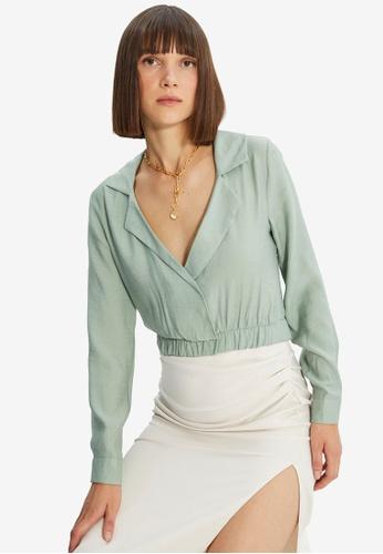 Trendyol green Shawl Collar Wrap Crop Top FECC0AAEEFCEB7GS_1