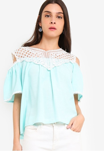 ab4ff444fe40f Shop ZALORA Cold Shoulder Lace Top Online on ZALORA Philippines