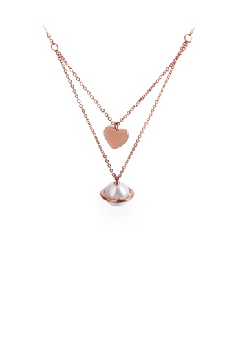 Glamorousky white Fashion and Elegant Plated Rose Gold Heart-shaped Imitation Pearl 316L Stainless Steel Pendant with Double Necklace C3BD4ACE6E4759GS_1