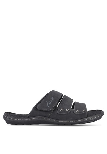 Louis Cuppers black Tri-Strap Sandals LO977SH40BAPMY_1