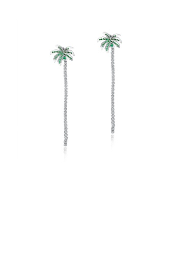 Glamorousky white Simple and Fashion Coconut Fringe Earrings with Green Cubic Zirconia 10352ACF49679BGS_1