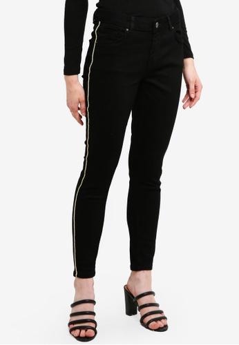 Dorothy Perkins 黑色 Gold Stripe Black Jeans C662DAAC02C1E2GS_1
