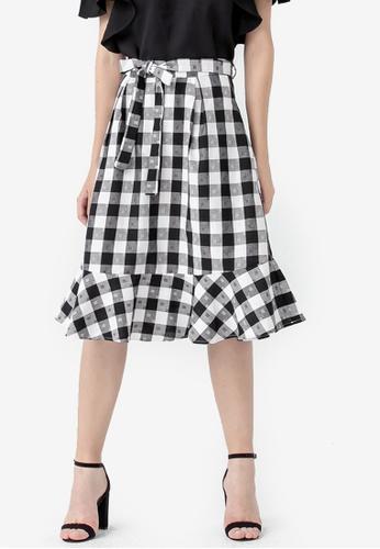 Kodz black Checkered Fishtail Skirt 389D4AA8CC1FA8GS_1