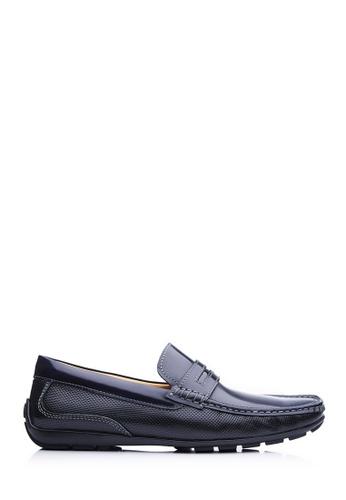 BONIA blue Men Dark Blue Brush-Off Loafers F5E1CSH84E9DA8GS_1