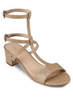 【ZALORA】 時尚T 字雙踝帶粗跟涼鞋