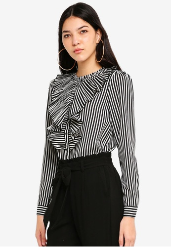 ONLY white Milan Striped Pleat Shirt F6470AA3EFE99CGS_1