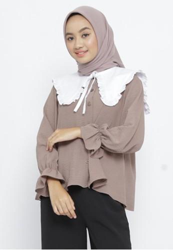 Mimamim brown Blouse Arisha Ruffled Collar 396AAAA69B264AGS_1