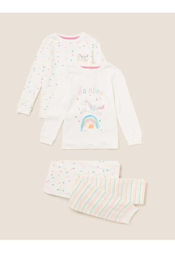 MARKS & SPENCER white M&S 2pk Pure Cotton Unicorn Pyjama Set (1-7 Yrs) 6EEDAKA93BB0E7GS_1