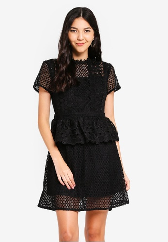 Angeleye black Black Zip Mini Lace Dress 9BD6DAA9C18CEFGS_1