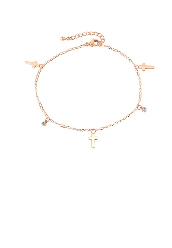 Glamorousky white Simple Fashion Plated Rose Gold Cross 316L Stainless Steel Anklet with Cubic Zirconia BB312AC9CDBD59GS_1