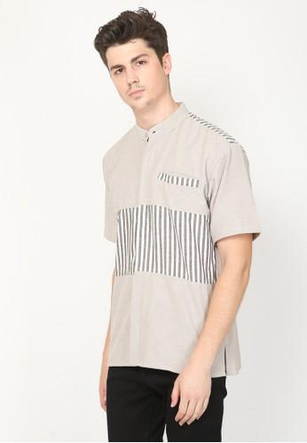 Allev beige Azzam Shirt - Cream Stripe Abu E7CE7AAE6D3B40GS_1