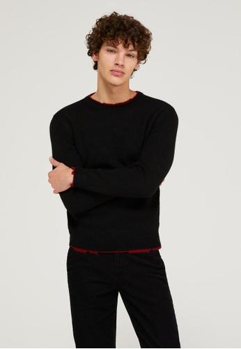 Sisley black Crew Neck Sweater 062F5AA9DDF8C5GS_1