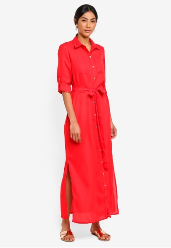 Dorothy Perkins red Petites Red Maxi Shirt Dress F3C12AA543A649GS_1