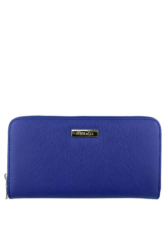 Mel&Co blue and navy Faux Leather Zipped Around Long Wallet 1CE50AC62F7E85GS_1