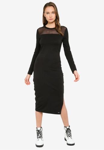Superdry black NYC Mesh Panel Dress 8C294AA6BE6E18GS_1