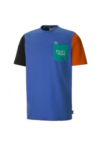 PUMA blue PUMA x MR DOODLE Colourblock Men's Tee 7F33CAAF708499GS_1
