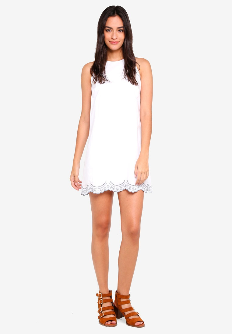 Borrowed Dress Scallop Something Embroidered White waASxq