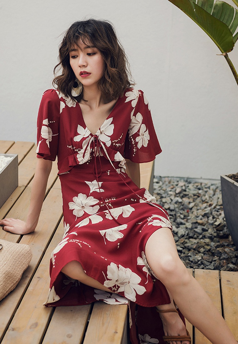 2018 Floral One Sunnydaysweety Red Piece Long Dress Red New A061218 APwrpxA
