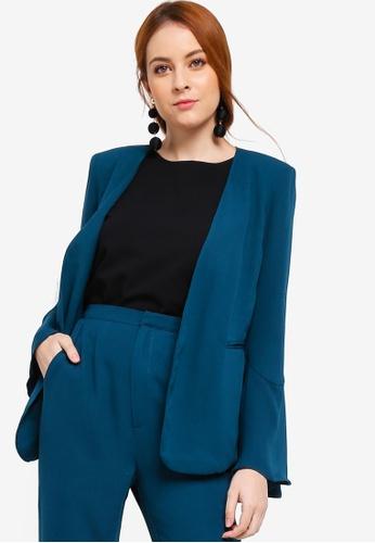 Zalia green Basic Flare Sleeves Blazer 50552AA04A084DGS_1