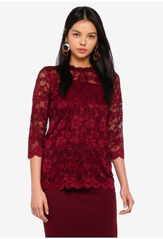 effd2652e960d Dorothy Perkins red Wine 3 4 Sleeve Lace Top DE466AAC84F639GS 1